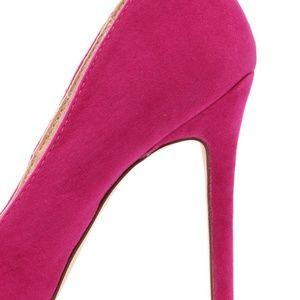 Liliana Shoes - Hollie Velvet Fuchsia Pointed Toe Pumps